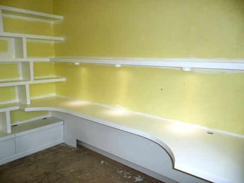 wall shelving and desk